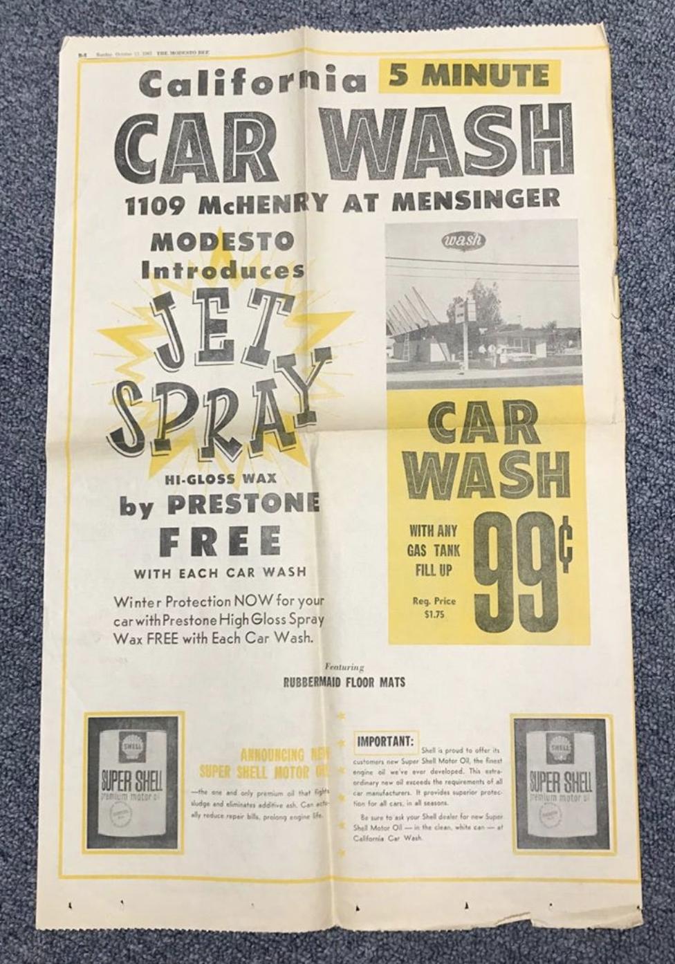 Original 5 Minute CarWash newspaper ad in the Modesto Bee, October 1963.